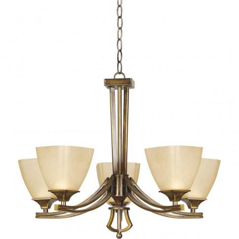 Lustra Baldo KL 2547, 5 x E27, bronz antic + crem