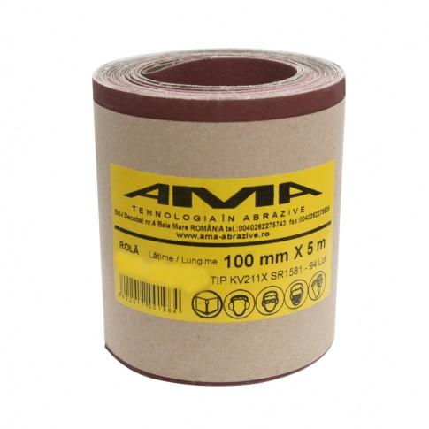 Rola panza abraziva pentru lemn, metale, constructii, Ama, granulatie 100, rola 5 m x 100 mm