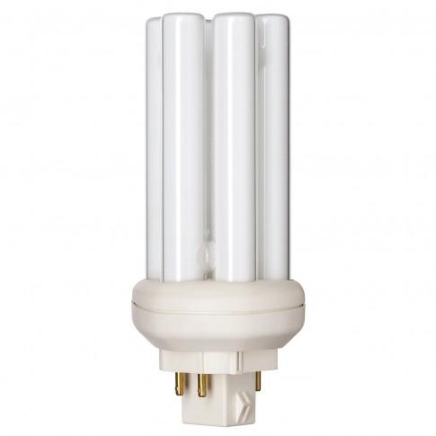 Bec economic Philips Master PL-T 4P tubular GX24q-2 18W 1200lm lumina calda 3000 K, compatibil cu droser dimabil