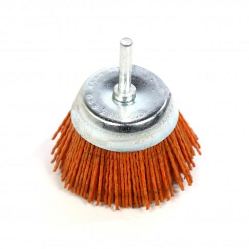 Perie cupa, cu tija, din nylon abraziv, pentru inox / aluminiu, Peromex 5227G, diametru 75 mm