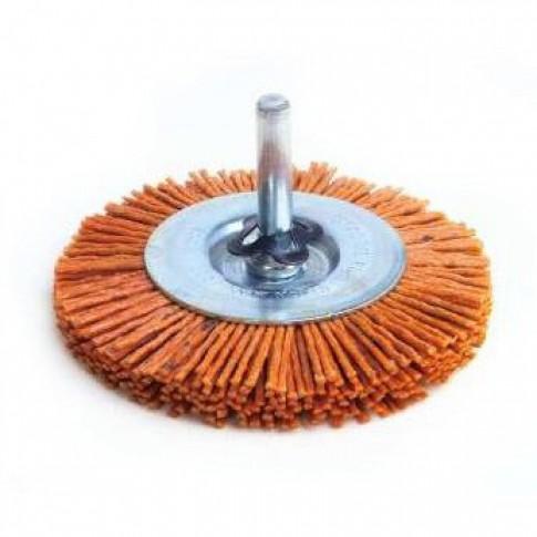 Perie cupa, cu tija, din nylon abraziv, pentru inox / aluminiu / metale moi, Peromex 6143G, diametru 100 mm