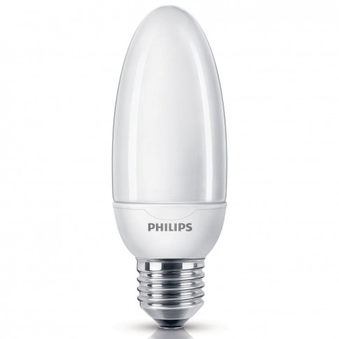 Bec economic Philips Softone Esaver lumanare B45 E27 12W 610lm lumina calda 2700 K