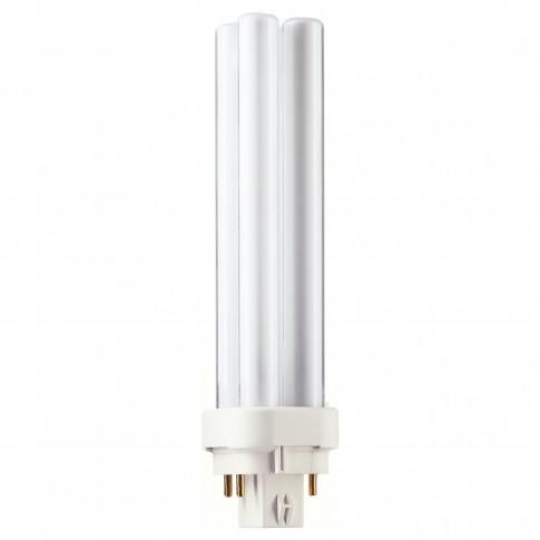 Bec economic Philips Master PL-C 4P tubular G24q-2 18W 1200lm lumina calda 3000 K, compatibil cu droser dimabil