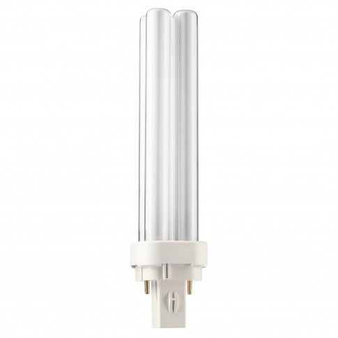 Bec economic Philips Master PL-C 4P tubular G24d-2 18W 1200lm lumina calda 2700 K