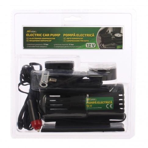 Pompa electrica auto Ro Group, pentru anvelope si alte obiecte gonflabile, cu 3 adaptoare, 12 V