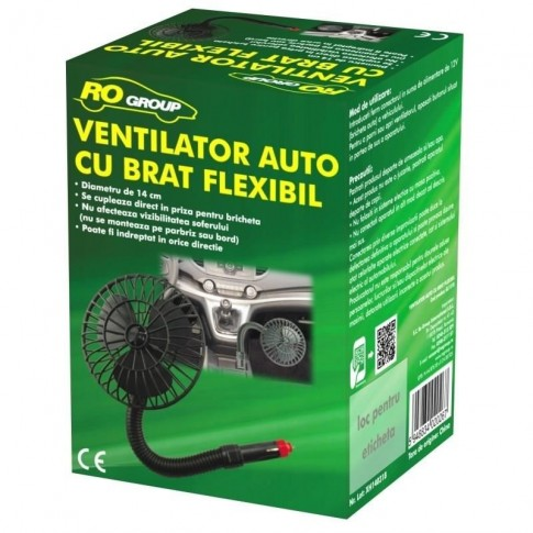 Ventilator auto Ro Group, cu brat flexibil, 12 V