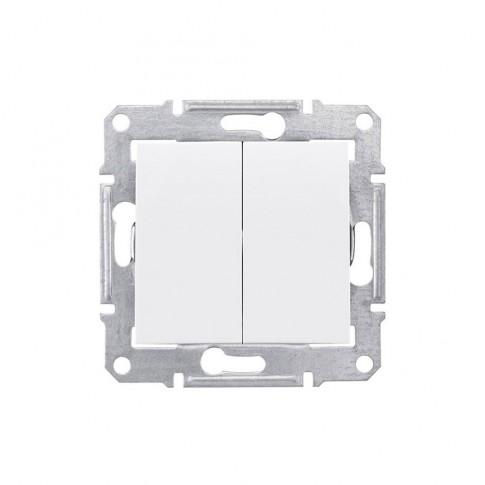 Intrerupator dublu Schneider Electric Sedna SDN0300121, incastrat, alb