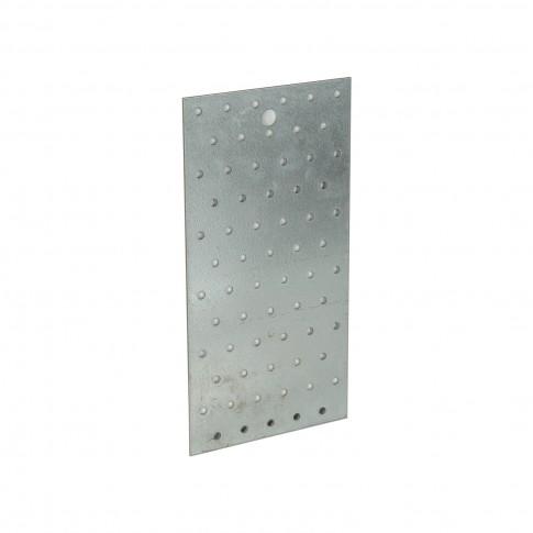 Placa perforata plata, pentru constructii din lemn, din otel zincat alb, 120 x 240 mm