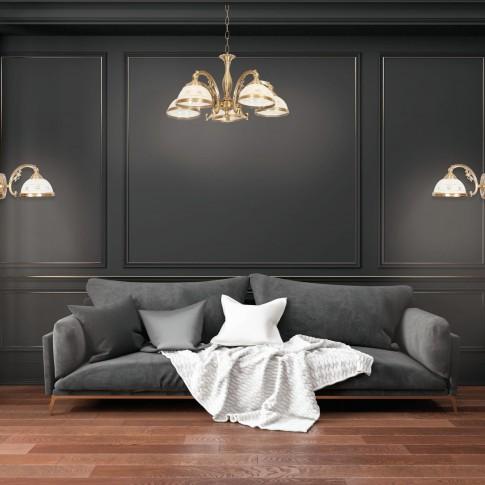 Lustra Camille KL 7022, 5 x E27, bronz + alb