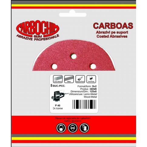 Disc abraziv cu autofixare, pentru lemn / vopsea / lac / chit, Carbochim AS V6, 125 x 22 mm, granulatie 180