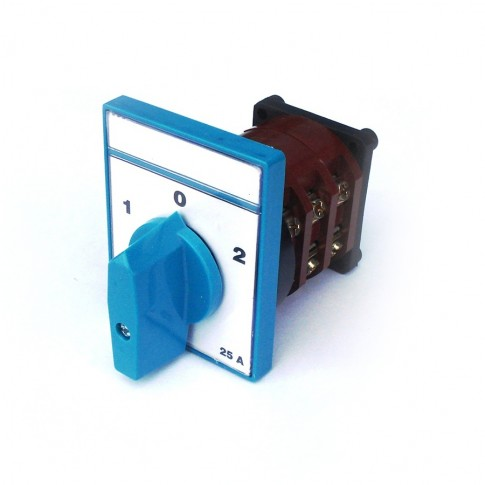 Comutator circular cu came Metop 63-018, 3 poli, pozitie 1-0-2, 25A