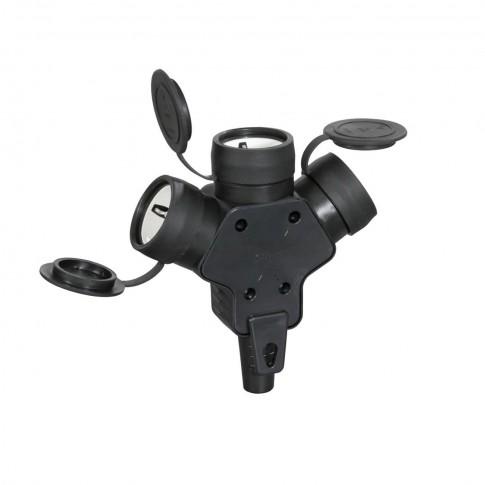 Cupla tripla cauciuc Atra 7125, IP44, neagra, cu contact protectie, 16 A, 250 V