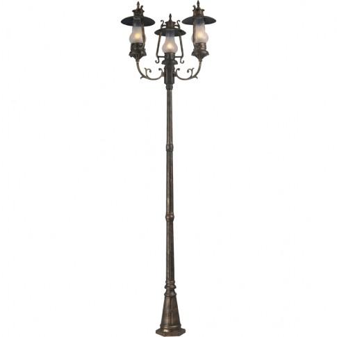 Stalp de iluminat ornamental Petrol 6 KL 5470, 3 x E27, H 270 cm, bronz antic