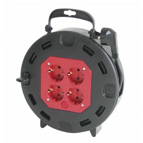 Derulator cablu electric capsulat 16090, 4 prize, 10 m, 3 x 1.5 mmp, contact de protectie