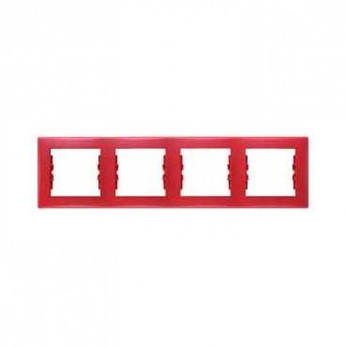 Rama Schneider Electric Sedna SDN5800741, 4 posturi, orizontala, rosie, pentru priza / intrerupator