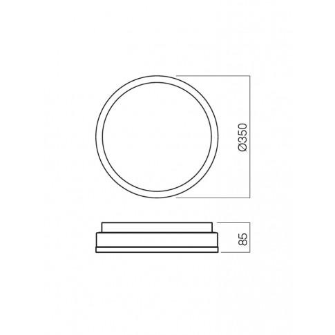 Plafoniera pentru baie Moon 01-543, 2 x E27, D 350 mm, IP44