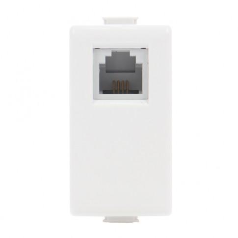 Priza telefon Matix SAM5958C11NE, RJ11, incastrata, modulara - 1 m, alba