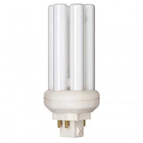 Bec economic Philips Master PL-T 4P tubular GX24q-2 18W 1200lm lumina neutra 4000 K, compatibil cu droser dimabil