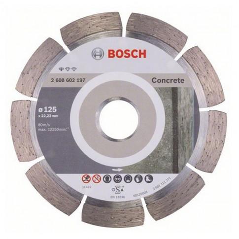 Disc diamantat, cu segmente, pentru debitare beton, Bosch Standard for Concrete, 125 x 22.23 x 1.6 x 10 mm, 2608602197