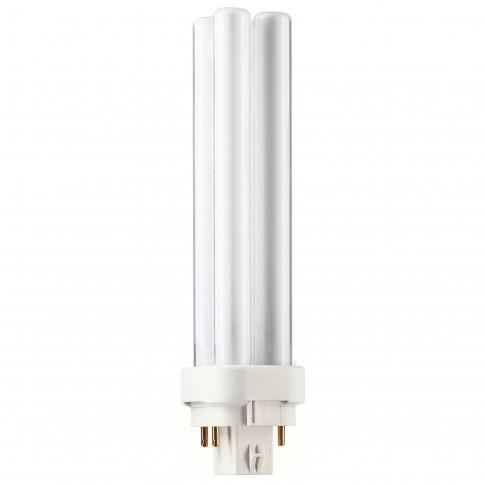 Bec economic Philips Master PL-C 4P tubular G24q-2 18W 1200lm lumina neutra 4000 K, compatibil cu droser dimabil