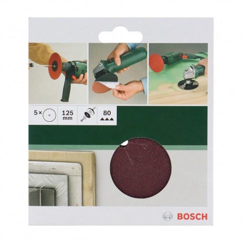 Disc abraziv pentru slefuire lemn, Bosch 2609256275, 125 mm, granulatie 80, set 5 bucati