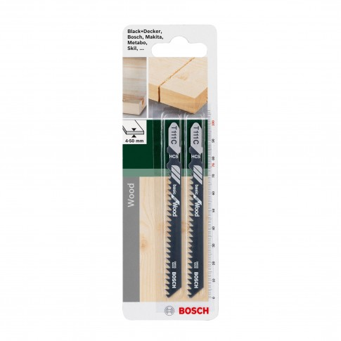 Panza fierastrau vertical, pentru lemn, Bosch Basic for Wood, TE 111 C,  2609256716, set 2 bucati