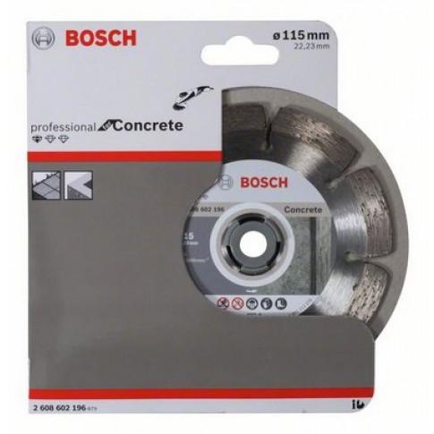 Disc diamantat, cu segmente, pentru debitare beton, Bosch Standard for Concrete, 115 x 22.23 x 1.6 x 10 mm, 2608602196