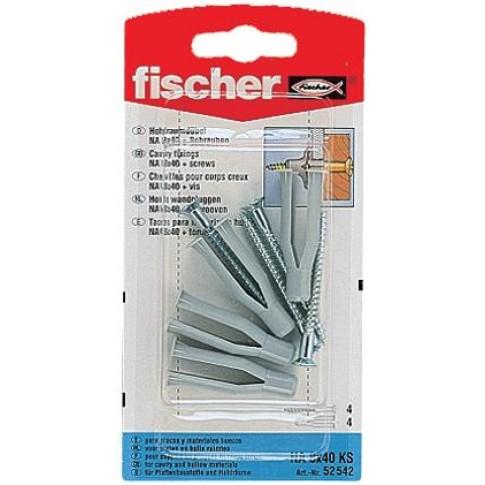 Diblu pentru fixari in cavitati, din nylon, cu surub, Fischer, 8 x 40 mm, 4 bucati