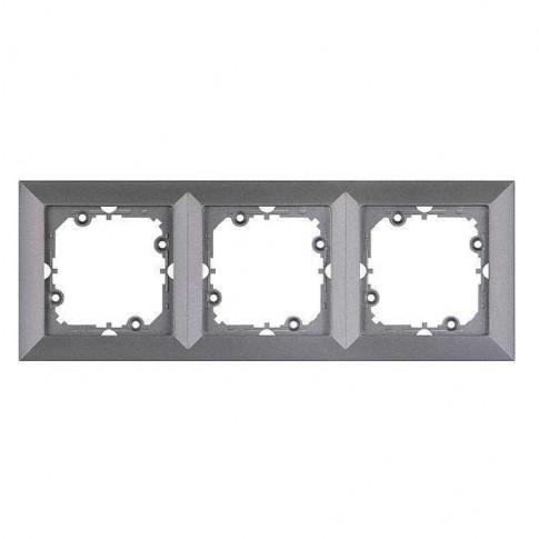Rama Perla RA-3P AN, 3 posturi, antracit metalizat, pentru priza / intrerupator