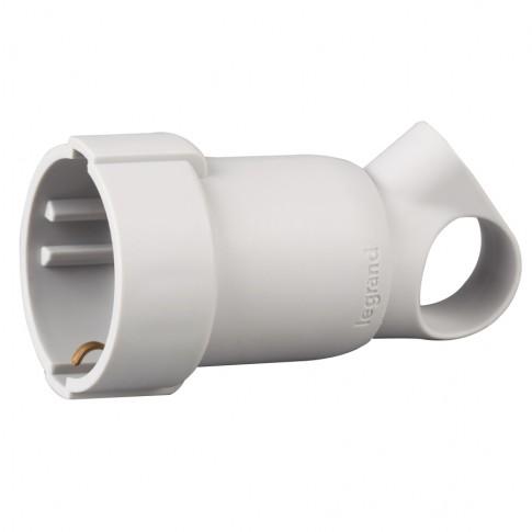 Priza mobila cu inel extragere Legrand 050331, IP44, alba, cu contact protectie, 16 A