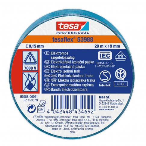 Banda electroizolatoare tesa Professional 53988, albastra, 20 m x 0.13 mm x 19 mm
