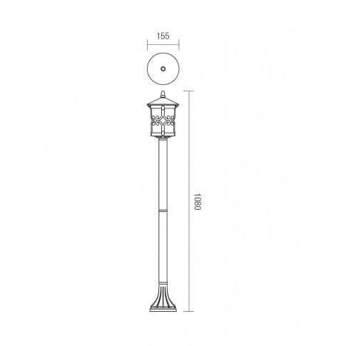 Stalp de iluminat ornamental Tirol 9262, 1 x E27, H 108 cm, finisaj ruginiu