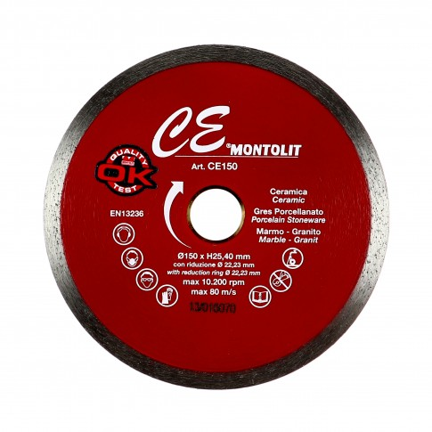 Disc diamantat, continuu, pentru debitare placi ceramice / granit, Montolit, 150 x 25.4 x 22 mm