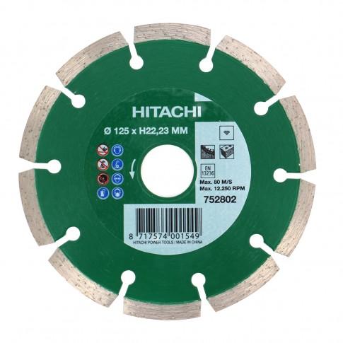 Disc diamantat, cu segmente, pentru debitare materiale de constructii, Hikoki 752802, 125 x 22.2 x 2 x 7 mm