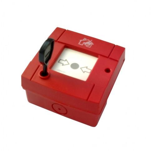 Buton de apelare incendiu Olympia Electronics BS-536, montaj aparent, rosu, IP20
