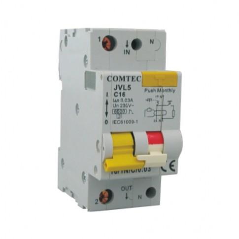 Intrerupator automat modular diferential combinat Comtec JVL5 18211, 1P+N, 10A, curba C