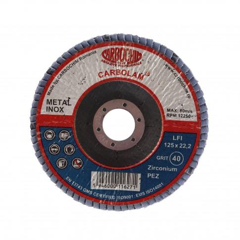 Disc lamelar frontal, pentru otel / inox, Carbochim SFI, 125 x 22 mm, granulatie 40