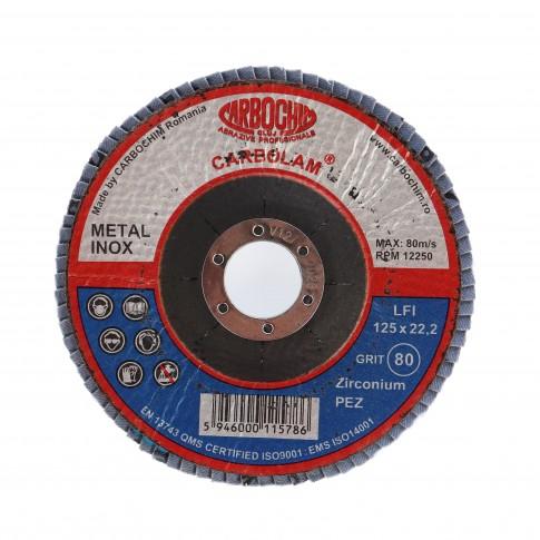 Disc lamelar frontal, pentru otel / inox, Carbochim SFI, 125 x 22 mm, granulatie 80