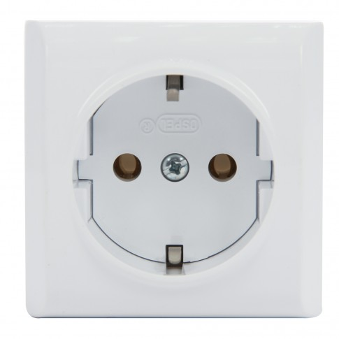 Priza simpla Ospel Bis GN-1BS, aparenta, rama inclusa, contact de protectie, alba