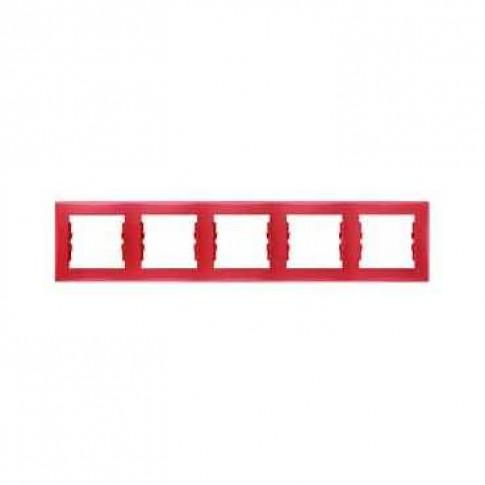 Rama Schneider Electric Sedna SDN5800941, 5 posturi, orizontala, rosie, pentru priza / intrerupator