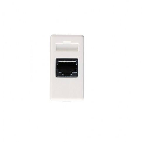 Priza telefon System GW20251, RJ11, incastrata, modulara - 1 m, alba