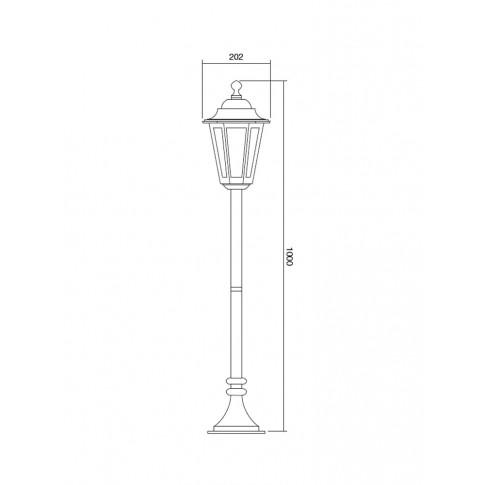 Stalp de iluminat ornamental London 6110C, 1 x E27, H 100 cm, cupru