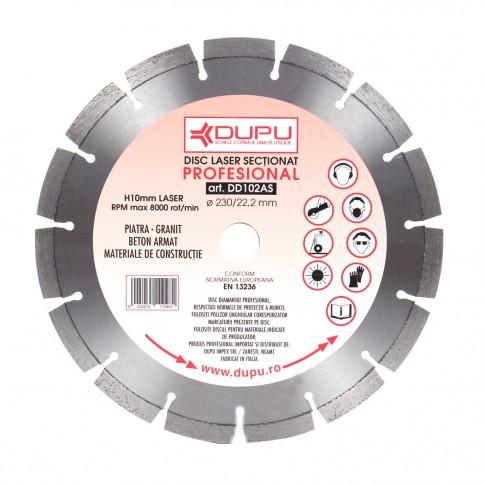 Disc diamantat, cu segmente, pentru debitare beton armat, Dupu Profesional, 230 x 22.2 x 2 mm