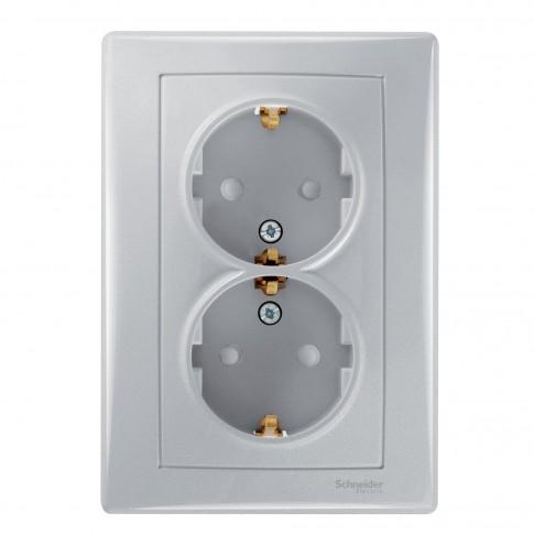 Priza dubla Schneider Electric SDN3000460, incastrata, rama inclusa, contact de protectie