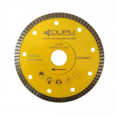 Disc diamantat, continuu, pentru debitare gresie, Dupu Special, 125 x 22.23 x 1.3 mm