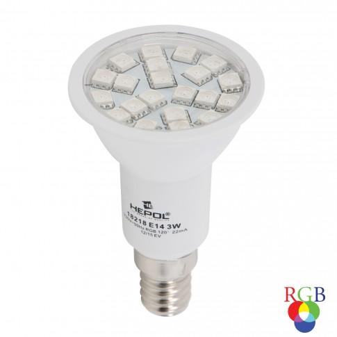 Bec LED color Hepol spot R50 E14 3W lumina RGB