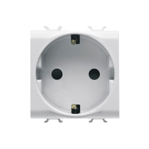 Priza simpla Gewiss Chorus GW10241-1BL, incastrata, modulara - 2, contact de protectie, alba