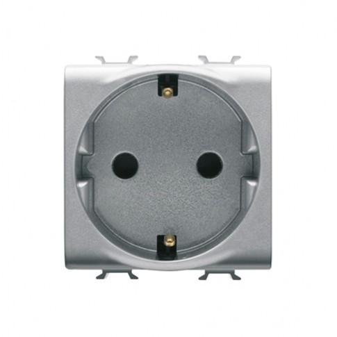 Priza simpla Gewiss Chorus GW14241-1BL, incastrata, modulara - 2, contact de protectie, gri - titan