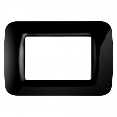 Rama Gewiss Top System GW22513, 3 module, neagra, pentru priza / intrerupator