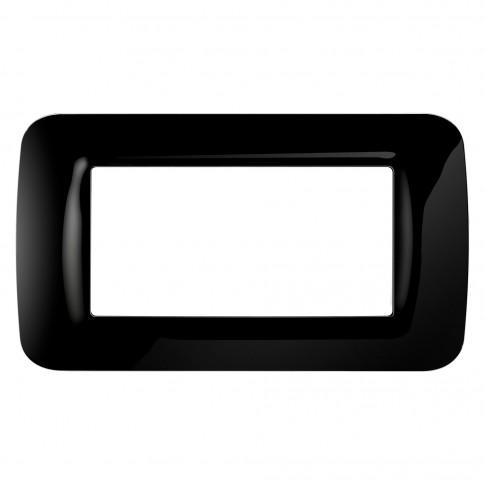 Rama Gewiss Top System GW22514, 4 module, neagra, pentru priza / intrerupator